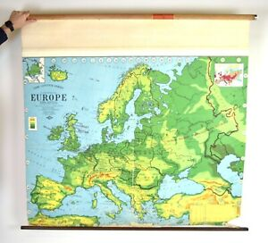Vintage Europe European Large Pull Down World Map Weber Costello