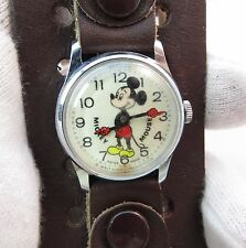 "MICKEY MOUSE,""70's Bangle Leather,Manual Wind,RARE! KIDS CHARACTER WATCH,1667"