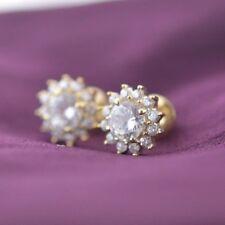 Flower Shape Earrings 14K Yellow Gold FN 925 Sterling Silver Screw Back CZ Fancy
