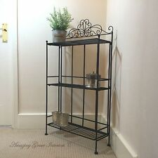 Shabby Chic Black Metal Freestanding Shelf Unit Display Shelves Rack Storage NEW