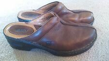 Womens Brown Leather Born Slip-on Clogs Mules Shoes Size 8/39
