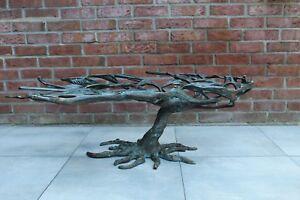 Skulpturaler Coffee Table Freeform Platte und floralem Gestell in Bronze #0027
