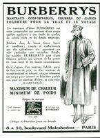 Publicité ancienne mode Burberrys 1937 issue de magazine