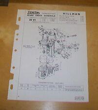 HILLMAN MINX Mk 8 SERIES 1 & 2  ZENITH 30 VI CARBURETTER SPARE PARTS SCHEDULE