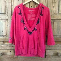 Women's Lucky Brand Large Pink Embroidered 3/4 Sleeve Hooded Sweater Hoodie