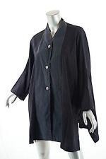 ELEMENTE CLEMENTE Black/Charcoal Rayon/Poly Blend Button Down Blouse - Sz O/S