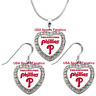 Philadelphia Phillies 925 Necklace / Earrings or Set Team Heart With Rhinestones