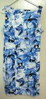 W20 CHAPS WOMENS BLUE MULTI FLORAL SHEATH DRESS SLEEVELESS LINED SZ 16