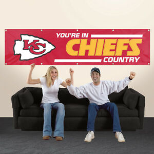 KANSAS CITY YOU'RE IN CHIEFS COUNTRY 8' X 2' BANNER 8 FOOT HEAVYWEIGHT SIGN