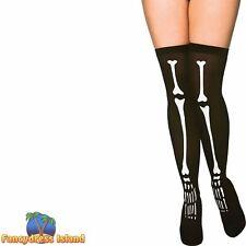 Skeleton Thigh High Stockings Womens Ladies Fancy Dress Accessory Hosiery