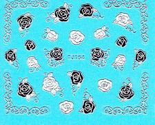 Nail Art 3D Decal Stickers Metellic Rose Flower Black Silver White Pretty TJ154