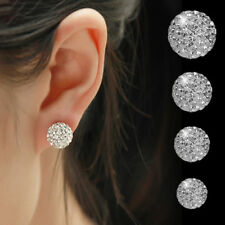 Womens Multi Gem Earrings Crystal Ball Silver Plated Round Studs Gift Jewellery