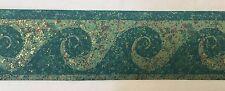 "Swirl Wave Wallpaper Border Teal Paint Speckles Splatter 2 3/4"""