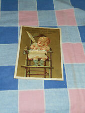 Old Tradecard J W Field Fine Boots & Shoes Young Child High Chair Quill Pen