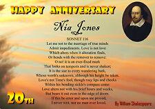 William Shakespeare Sonnet 116 PERSONALISED Anniversary Birthday Card LOVE POEM