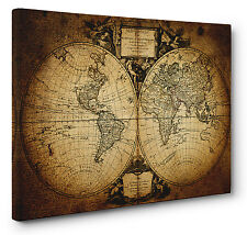 Old 1752 Vintage World Map Picture Canvas Print Wall Art a1 a2