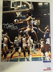 Julius Erving Signed 16x20 Photo Auto Philadelphia 76ers ABA GoRgEoUs! PSA DNA