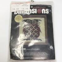 Vtg 1981 Dimensions PATCHWORK OWL Needlepoint Kit #7050 NIP NOS Sealed