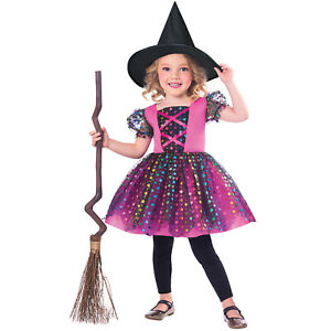 Girls Halloween Rainbow Witch Costume Toddler Fancy Dress Outfit Party 1-8 Years