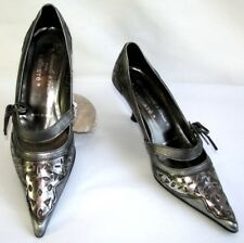 KALLISTE Court shoes heels 6.5 cm all leather silver grey 36 ITL