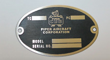 Vintage Oval Piper Cub  DEA Required Airframe Data Plate, Stainless, Acid Etched