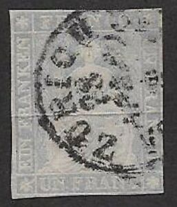 Switzerland 1855 Streubel - 1Fr Lavender with CDS Sc #30 Used, VF - CV $1000.00