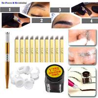 One Set Microblading Permanent 3D Makeup Eyebrow Tattoo Needle Pen Pigment Kit!!