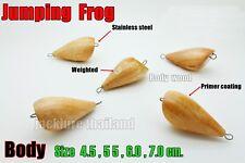 Jumping Frog 5 pcs Fishing Lure Body Wood Handmade Vintage Unpainted Tackle Thai