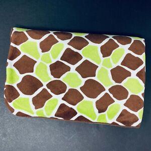 Bananafish Green Brown Giraffe Print Baby Blanket Plush Sherpa Lovey Security