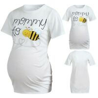 Women Maternity Short Sleeve Cute Cartoon Honeybee Tops Tee Pregnancy Clothes