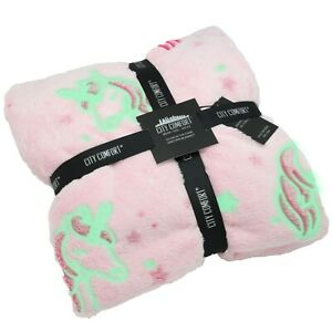 CityComfort Glow in the Dark Pink Blanket With Stars and Unicorns or Girls