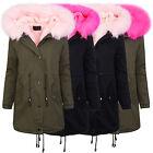 invierno chaqueta parka abrigo de señora XXL CUELLO PIEL Mujer Forro Cálido