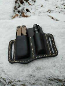 Leather Belt Tool Pouch EDC Pouch for Small Flashlight and Various Multi-Tools