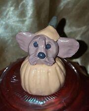 Handmade Sculpted Yorkshire Terrier Yorkie Halloween Pumpkin Head Decor