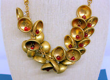 Miriam Haskell 26 Bells & Bead Necklace Gilded Brass Glass Ruby Beads Vintage
