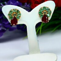 NATURAL 6 X 8 mm. PEAR RED RUBY & GREEN EMERALD EARRINGS 925 STERLING SILVER