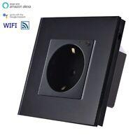WiFi Smart Steckdose WLAN Wandsteckdose Alexa UP Schwarz Glasrahmen LUX99-12