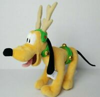 Disney Pluto Reindeer Plush Christmas Antlers Jingle Bells 9 in Standing Holiday