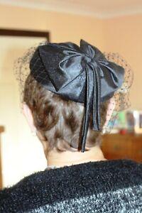 Vintage 1970's Light Black Hat with Face Net