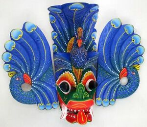 wooden mask Hand Carved Wood Wall Decor Handmade Sri Lanka 8 Inch 3D