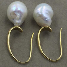 HUGE baroque pearl earrings 13-14MM 18K AAA natural  gorgeous Luxury GOLD TwoPin