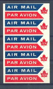 CANADA AVIATION TCA -AIRMAIL LABEL BOOKLET PANE OF 5 -(*) - VF