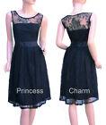 Retro Vintage Style Black Lace Cocktail Evening Dress Size 22 20 18 16 14 12 10