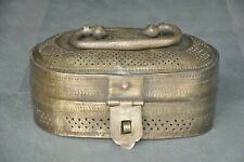 Old Brass Fine Engraved Solid Heavy Unique Shape Jewellery Box