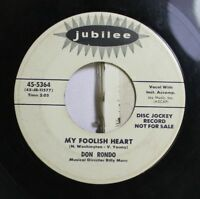 50'S & 60'S Promos 45 Don Rondo - My Foolish Heart / Leave Your Troubles On My L