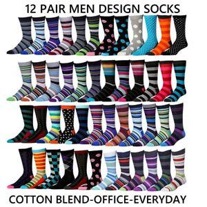 12 Pairs Men Designer Everyday Office Socks Formal Lycra Cotton Rich (Size 6-11)