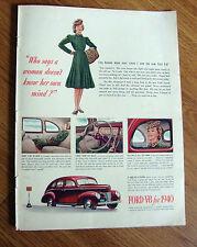 1940 Ford V-8 De Luxe Fordor Sedan Ad 1940 Coca-Cola Coke Ad Army Pilot
