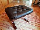 Vintage Stool Leather 60er Ottomane Retro Footrest Danish Westnofa Age 70er 6