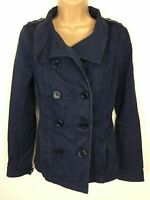 WOMENS H&M DIVIDED NAVY FITTED DOUBLE BREASTED MILITARY STYLE JACKET SIZE UK 10