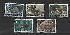 Yougoslavie 1960 faune 5 timbres oblitérés / T2129